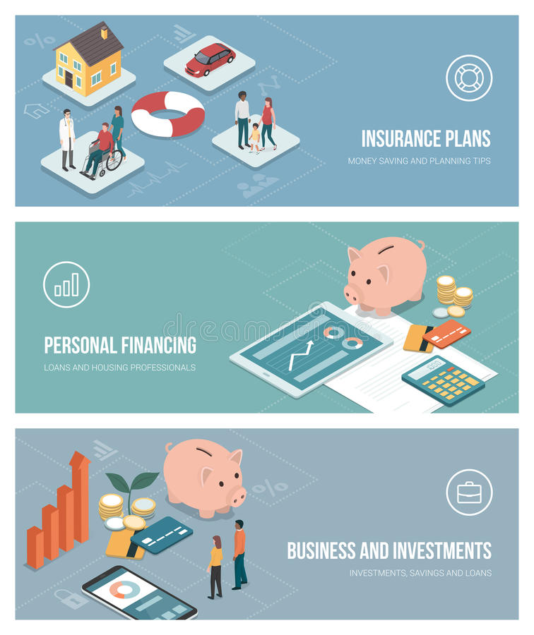 Insurance and financial plans vector illustration
