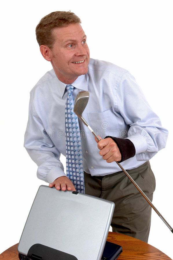 Insurance Fraud. A man with a brace for carpel tunnel syndrome sneaks out for a round of golf royalty free stock images