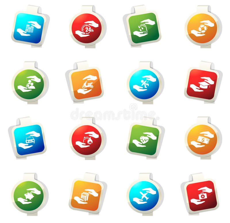 Insurance hands icons. Insurance vector icons for web sites and user interfaces stock illustration