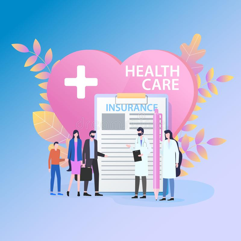 Insurance Health Care Family Doctor and Nurse. Medical Insurance Health Care Family Doctor Female Nurse Vector Illustration. Man Woman Child Patient Heart stock illustration