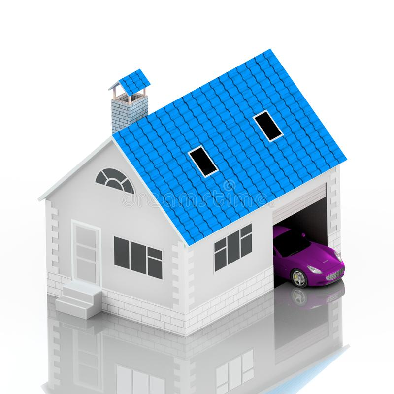Insurance home, house, life, car protection. Buying house and car for family icon. Protect people Concepts. 3D illustration. Icon. For the web site of the bank stock illustration