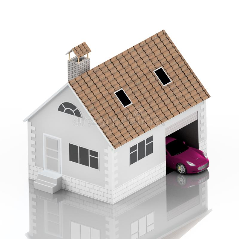 Insurance home, house, life, car protection. Buying house and car for family icon. Protect people Concepts. 3D illustration. Icon. For the web site of the bank royalty free illustration