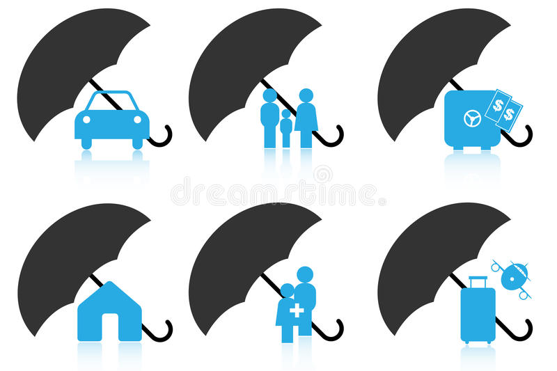 Insurance icons. Set of six insurance icons or logos on white background.Different insurance concepts: car,life,money,house,health,travel