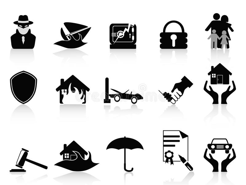 Download Insurance icons set stock vector. Image of icons, illustration - 23950205
