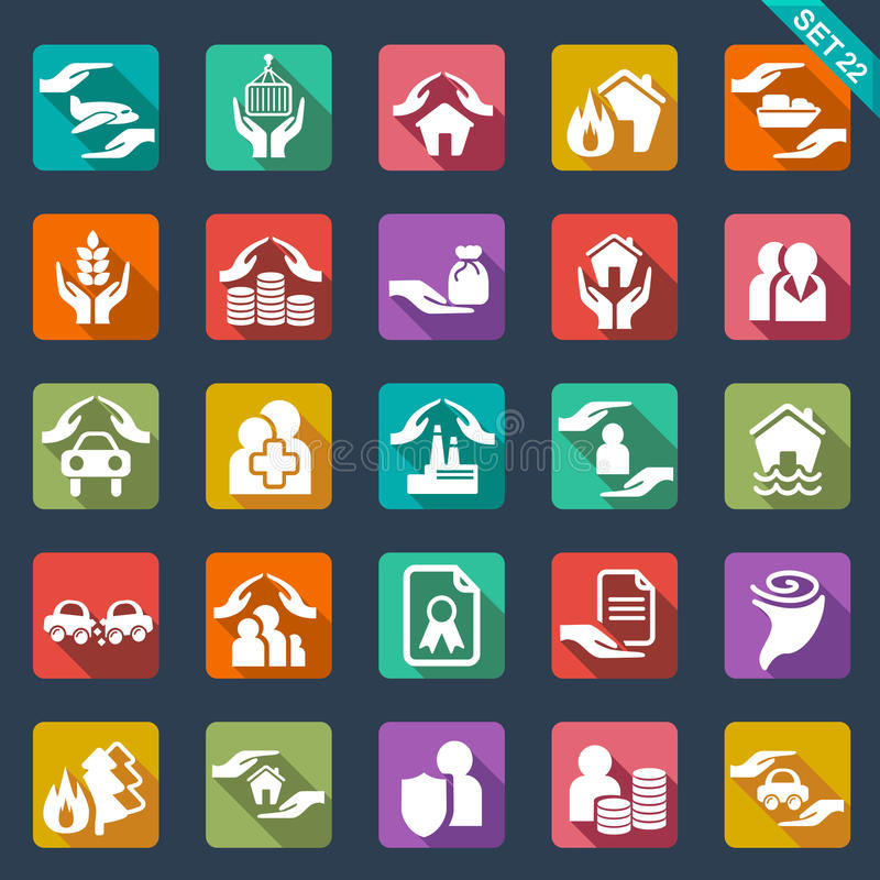 Insurance icons. Set of 25 insurance icons