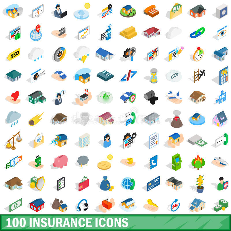 100 insurance icons set, isometric 3d style vector illustration