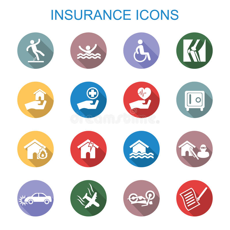 Insurance long shadow icons vector illustration