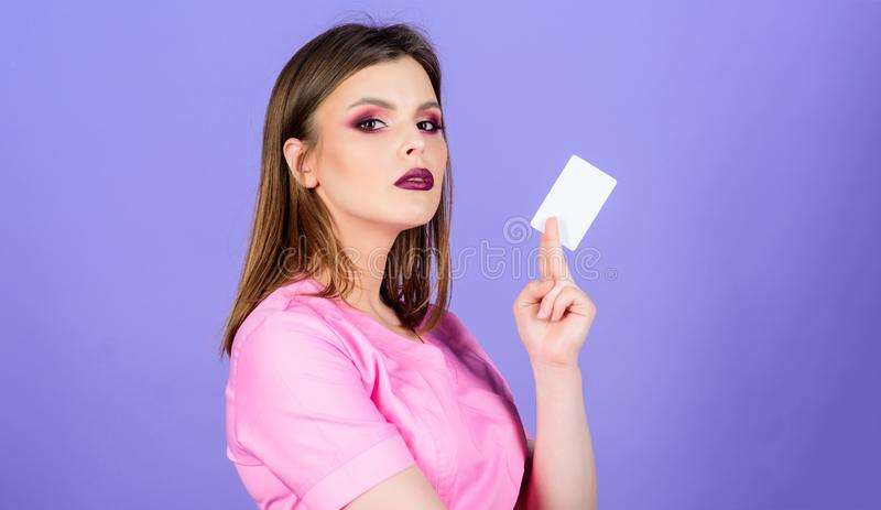 Insurance medicine. Health care. Medical education. Medicine concept. Private clinic. Woman doctor uniform. Doctor hold. Business card copy space. Medical royalty free stock photos