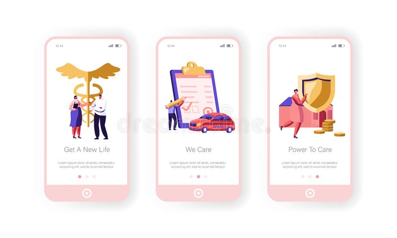 Insurance Mobile App Page Onboard Screen Set, Property, Car and Health Protection Paper Sign, Money Guarantee, Transport. Home, Life Concept for Website or stock illustration