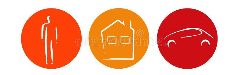 Insurance modern logo. Insurance logo person home house car royalty free illustration