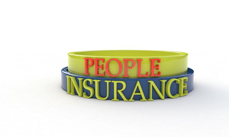 Insurance and people concept, 3d royalty free illustration