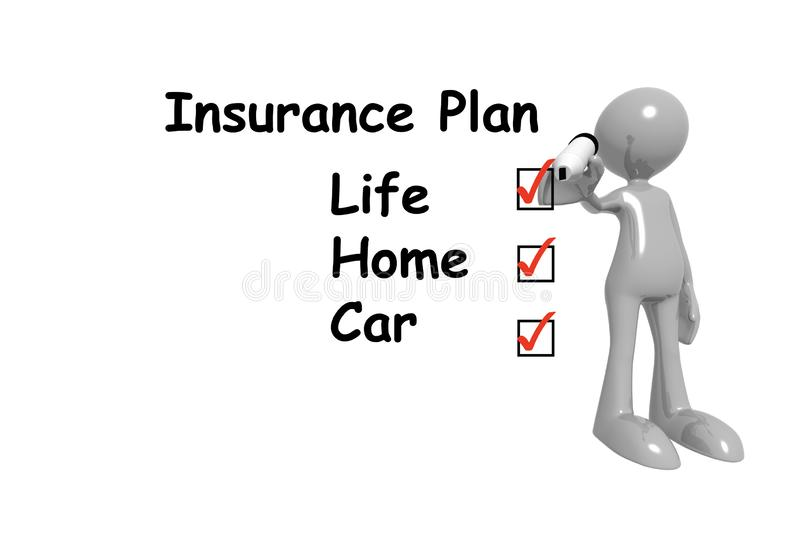 Insurance plan writing on white with man royalty free illustration