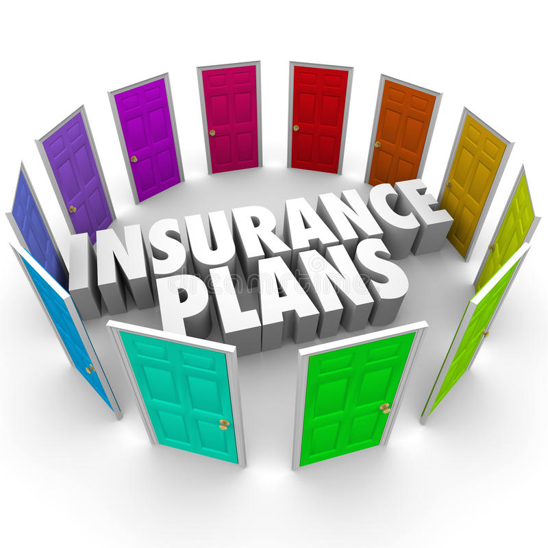Insurance Plans Many Options Health Care Choices Doors. Insurance Plans words in the middle of many colored doors illustrating the several confusing options for stock illustration