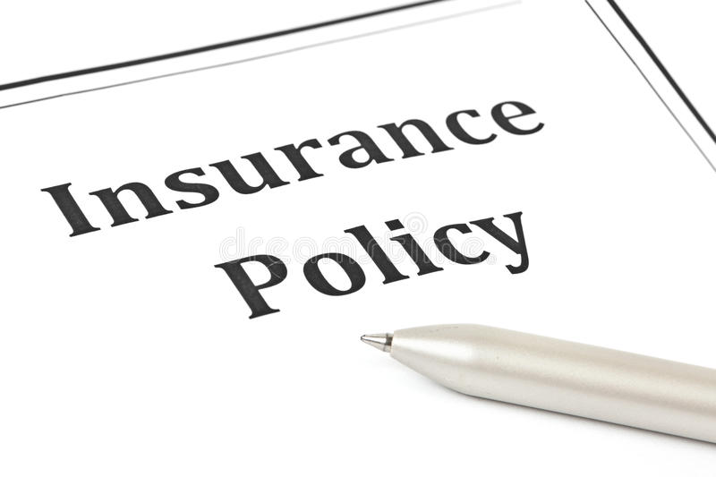 Insurance policy. Concept on white stock photo