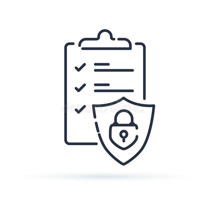 Insurance policy concept, check board and shield, data security, fraud analysis, vector line icon stock illustration
