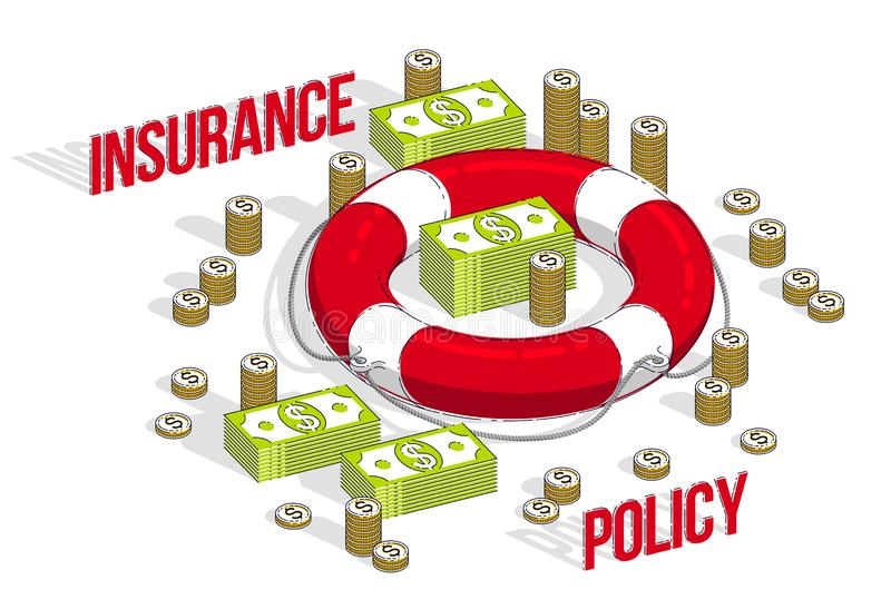 Insurance policy concept, Life buoy lifebelt with cash money dollar stack and coins isolated on white background. Vector 3d. Isometric business and finance royalty free illustration