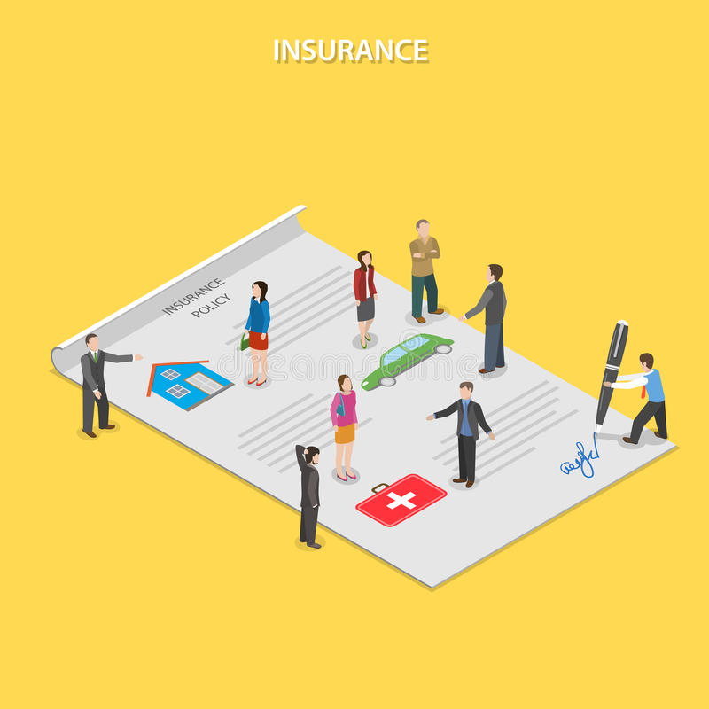 Insurance policy flat isometric vector concept. stock illustration