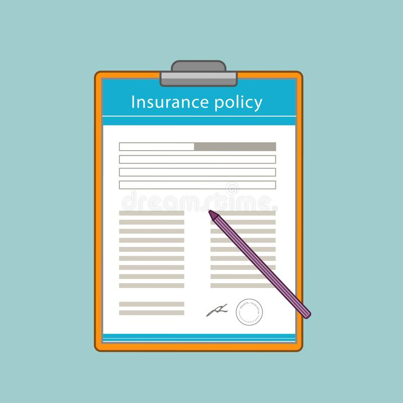 Insurance policy form in a flat style. stock photography