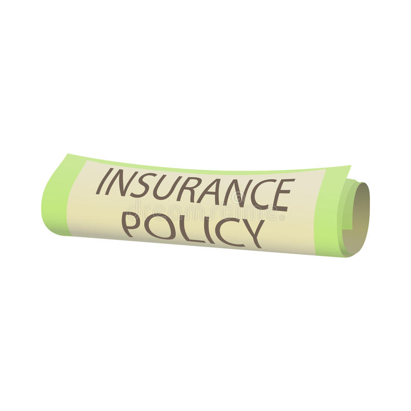 Insurance policy icon, cartoon style royalty free illustration