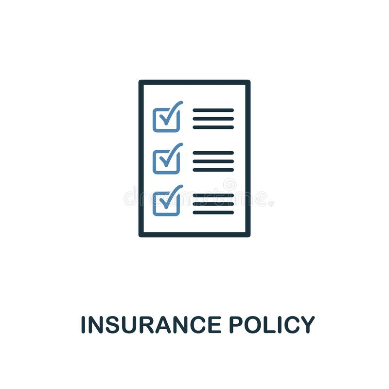 Insurance Policy icon in two color design. Line style icon from insurance icon collection. UI and UX. Pixel perfect premium insura stock illustration