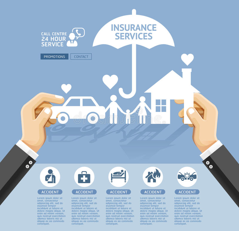 Insurance policy services conceptual design. royalty free illustration