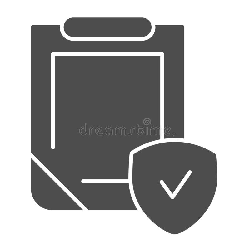 Insurance policy solid icon. Clipboard with shield vector illustration isolated on white. Safety document glyph style royalty free illustration