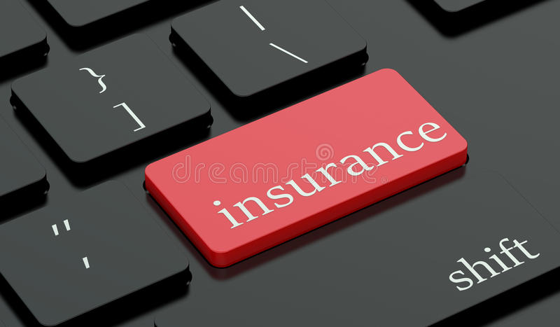 Insurance red hot key on keyboard. Insurance concept, red hot key on keyboard vector illustration