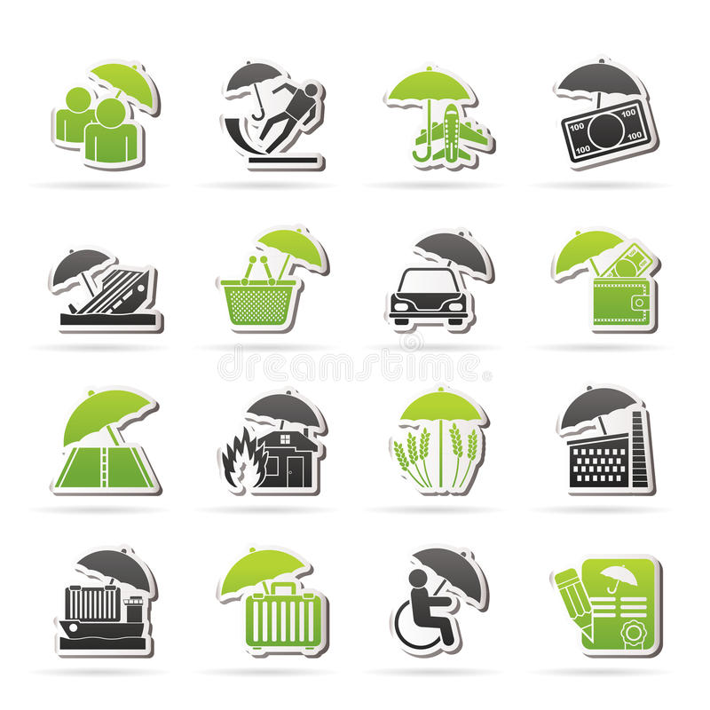 Insurance, risk and business icons royalty free illustration
