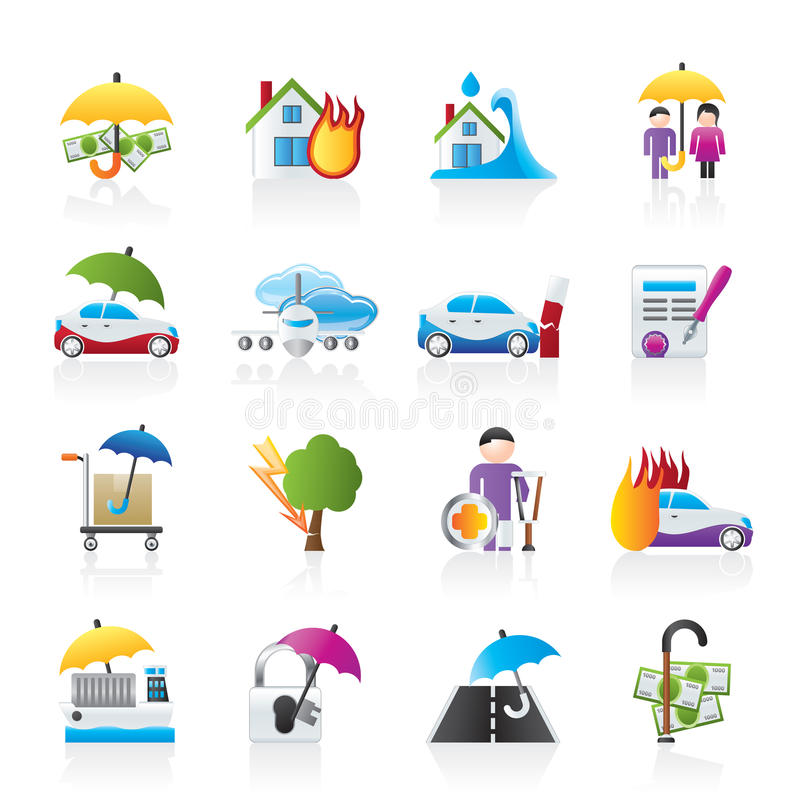 Insurance and risk icons. Vector icon set
