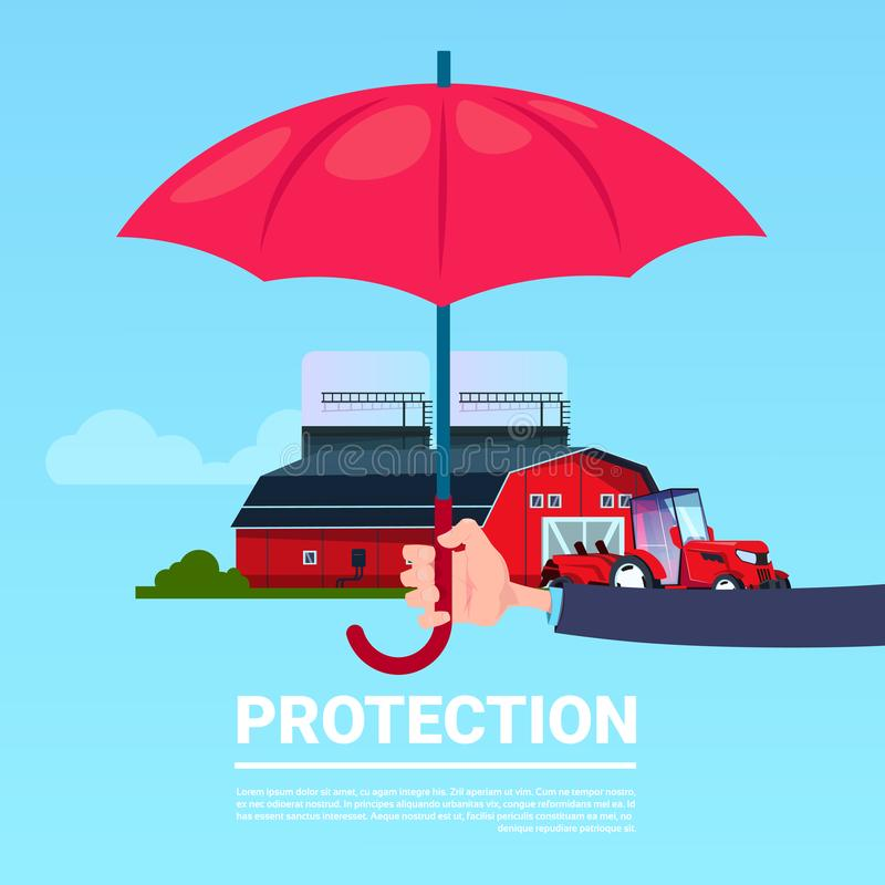 Insurance service hand umbrella protective tractor farm agriculture on blue background flat copy space. Vector illustration vector illustration