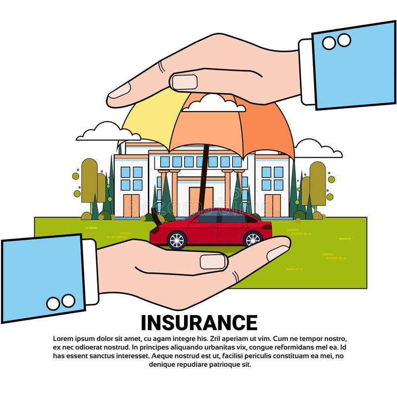 Insurance Services Concept With Hand Holding House And Car Property Protection And Safety. Vector Illustration royalty free illustration