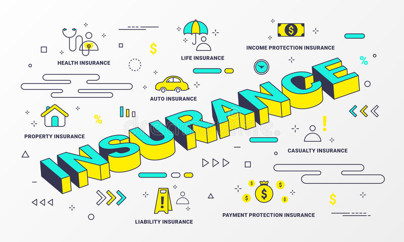 Insurance Services infographic. Flat line style icons concept such as House, Property, Health, Life, Income, money, Auto and car. Insurance Services infographic stock illustration
