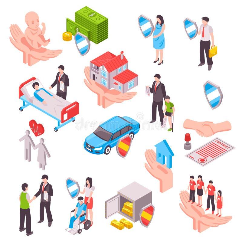 Insurance Services Isometric Set vector illustration