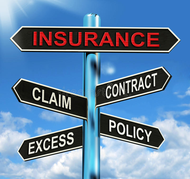 Insurance Signpost Mean Claim Excess Contract. Insurance Signpost Meaning Claim Excess Contract And Policy stock illustration
