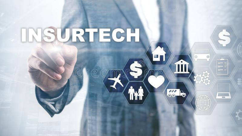Insurance technology Insurtech concept. Inscription on a virtual screen.  stock photos