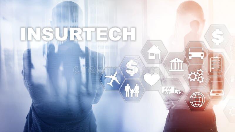 Insurance technology Insurtech concept. Inscription on a virtual screen.  stock image