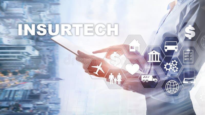 Insurance technology Insurtech concept. Inscription on a virtual screen. Insurance technology Insurtech concept. Inscription on a virtual screen stock images