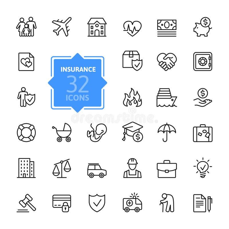 Insurance web icon set - outline icon set royalty free illustration