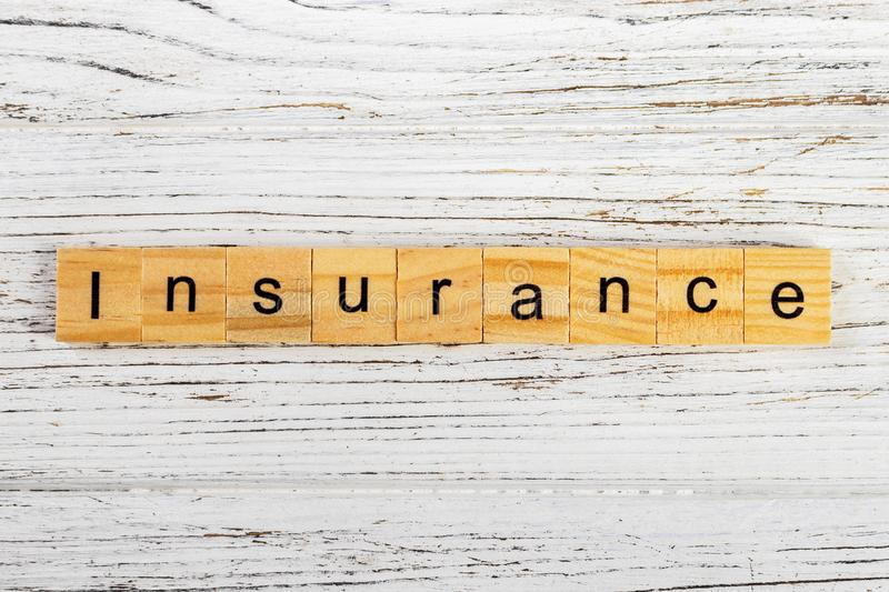 Insurance word made with wooden blocks concept royalty free stock images