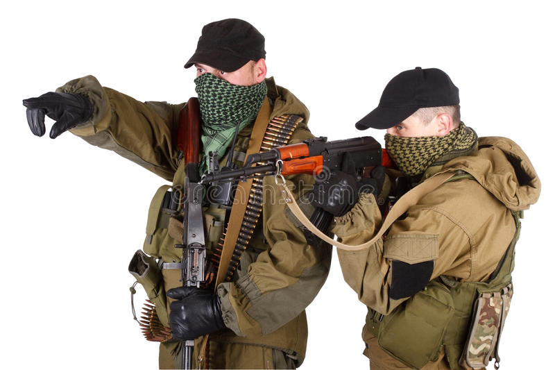 Download Insurgents With AK 47 And RPD Machine Gun Stock Photo