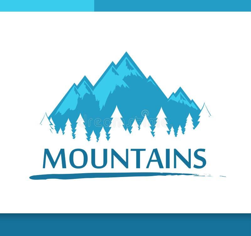 Insygnia z górami i lasem ilustracja wektor