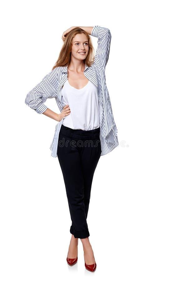 Intégral de la belle pose blonde de mannequin image libre de droits