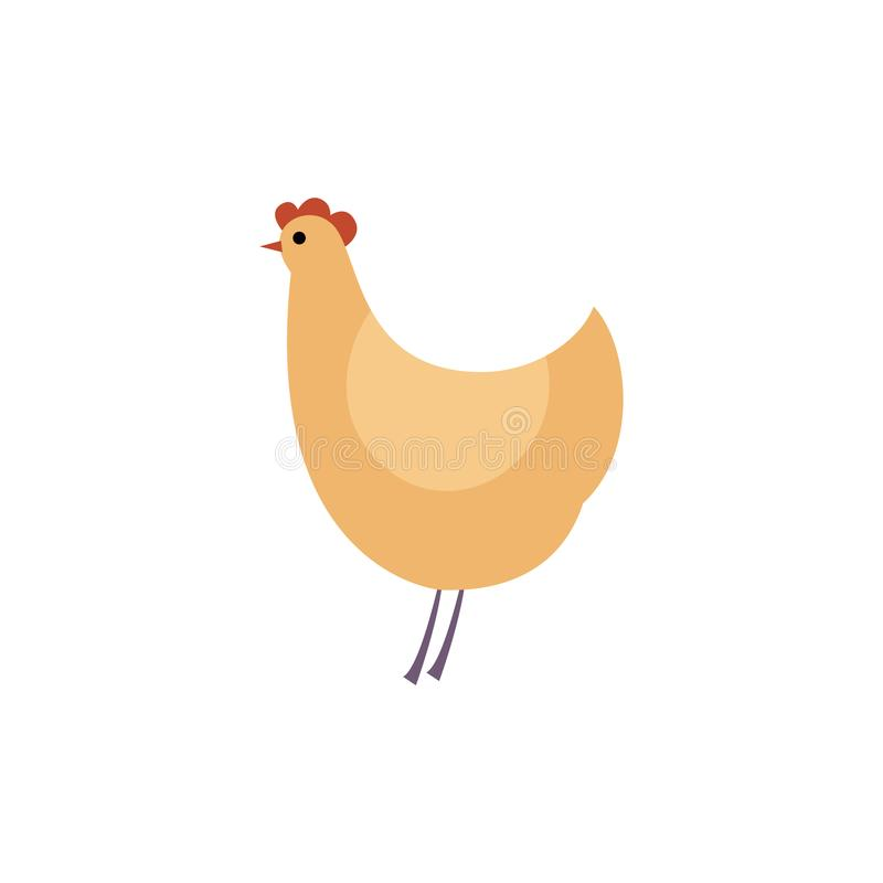 Intégral de la poule brune - vue de côté de poulet debout dans le style plat illustration libre de droits
