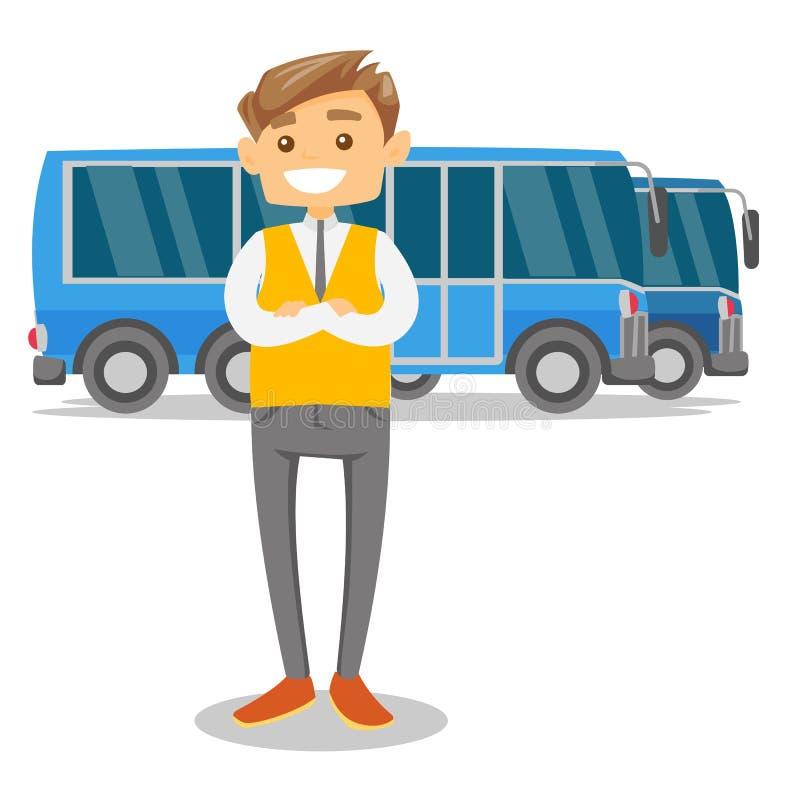 Intégral du jeune chauffeur de bus blanc caucasien illustration de vecteur