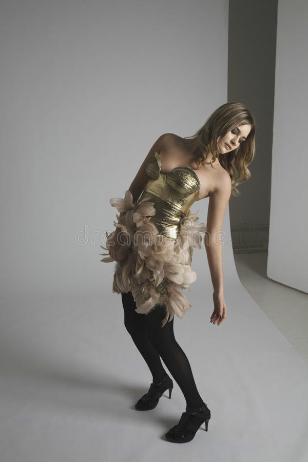 Intégral du mannequin posant dans le studio photo stock