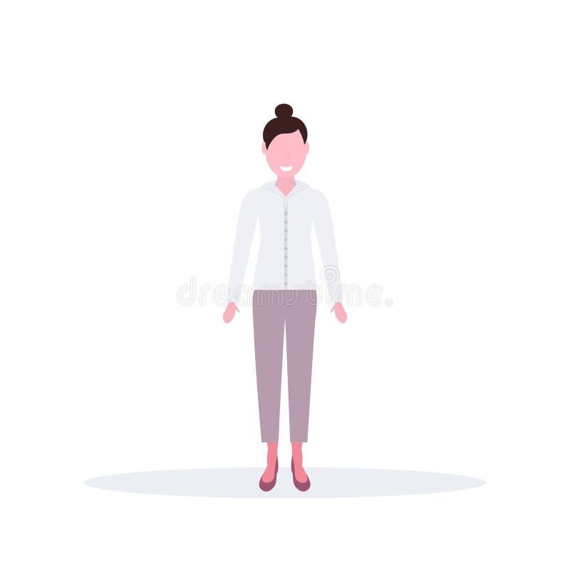 Intégral femelle heureux de personnage de dessin animé d'employé de bureau de femme de brune de pose de position de femme d'affai illustration libre de droits
