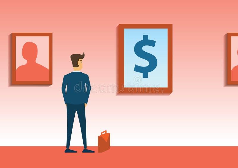 Intérêt de regard d'homme d'affaires à la photo d'argent dans la galerie d'art illustration de vecteur