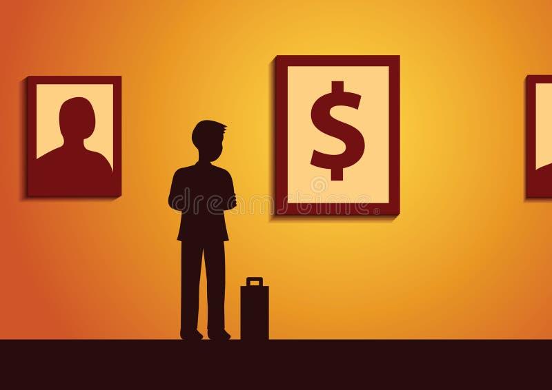 Intérêt de regard d'homme d'affaires à la photo d'argent dans la galerie d'art, h moyen illustration libre de droits