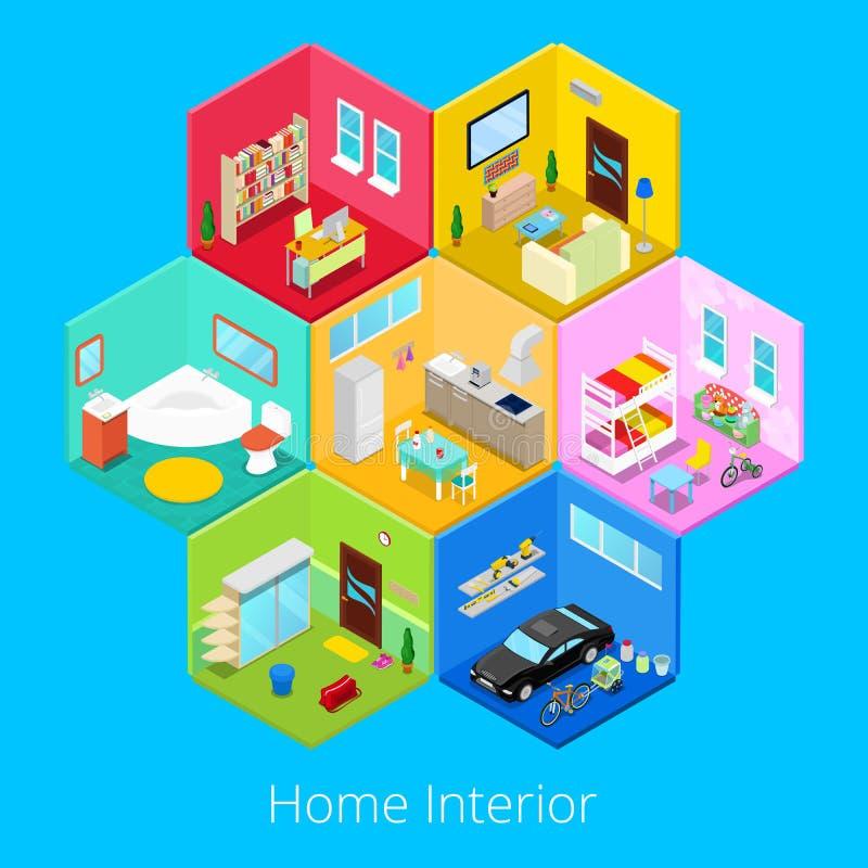 Intérieur à la maison isométrique de Chambre avec la pièce de salon, de cuisine, de salle de bains, de garage et d'enfants illustration libre de droits
