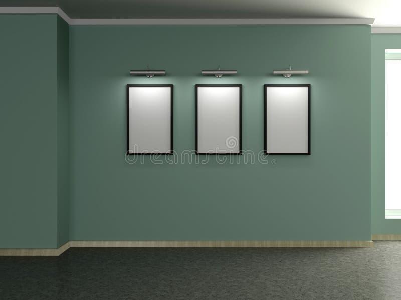 Intérieur à la maison moderne avec trois peintures. 3D. illustration libre de droits